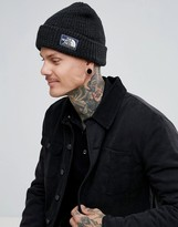 The North Face Rib Beanie Badge Logo In Black