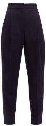Acne Studios Phana Buttoned-hem Tapered-leg Twill Trousers - Womens - Navy