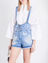 Valentino Embroidered butterfly denim playsuit