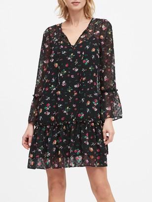Banana Republic Floral Clip-Dot Drop-Waist Dress