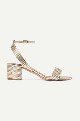 Aquazzura Sundance 50 Metallic Vegan Leather Sandals - Gold