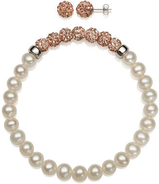 Fine Jewelry 6-7Mm Cultured Freshwater Pearl And 6Mm Peach Lab Created Crystal Bead Sterling Silver Earring And Bracelet Set