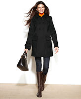 Double-Breasted Faux-Leather-Trim Swing Trench Coat