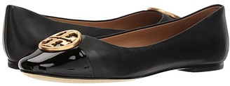 Tory Burch Chelsea Cap-Toe Ballet (Black/Black) Women's Shoes