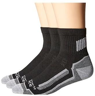 Carhartt 3-Pack Force Performance Work Quarter Socks (Black) Men's Quarter Length Socks Shoes