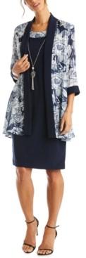 R & M Richards Sheath Dress & Floral Jacket