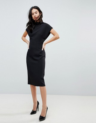 ASOS DESIGN Short Sleeve Midi Pencil Dress With Open Back