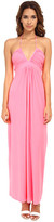 T-Bags LosAngeles Tbags Los Angeles Deep-Ve Ruched Halter Maxi w/ Braided Ties
