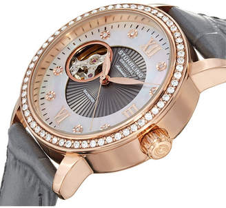 Stuhrling Original Stainless Steel Rose Tone Case on Gray Alligator Embossed Genuine Leather Strap, White Mother-Of-Pearl Dial With Exposed Open-Heart Movement, Swarovski Crystal Studded Bezel, With Rose Tone and Diamond Accents