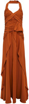 Thumbnail for your product : Self-Portrait Pleated Crepe De Chine Halterneck Maxi Dress