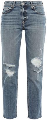 Rag & Bone Dre Cropped Distressed Faded High-rise Straight-leg Jeans