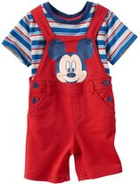Disney Disney's Mickey Mouse Baby Boy Striped Tee & Graphic Shortalls Set