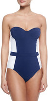 Tory Burch Lipsi Two-Tone One-Piece Swimsuit, Navy/Ivory