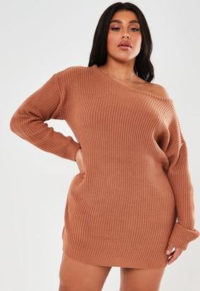 Missguided Plus Size Brown Off The Shoulder Jumper Dress