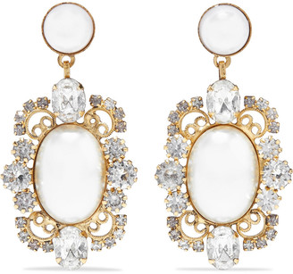 Elizabeth Cole Reagan 24-karat Gold-plated, Faux Pearl And Swarovski Crystal Earrings