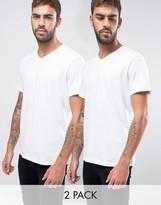 BOSS Black By Hugo V-Neck T-Shirt 2 Pack In Relaxed Fit White