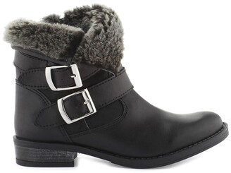 Cosmo Paris Fatana Leather Biker Boots with Faux Fur Lining and Buckles