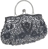 ThyWay Beaded Sequin Design Metal Frame Kissing Lock Satin Interior Evening Clutch