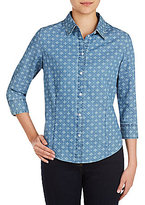 Allison Daley Medallion Print Button Front Denim Blouse