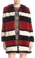 Alice + Olivia Women's Kinsley Oversize Stripe Faux Fur Coat