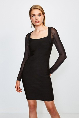 Karen Millen Mesh Sleeve Bandage Knit Square Neck Dress