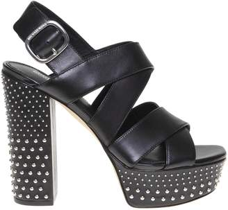 Michael Kors Leather Sandal In Black Leather