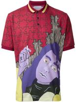 J.W.Anderson face print polo shirt - men - Cotton - XS