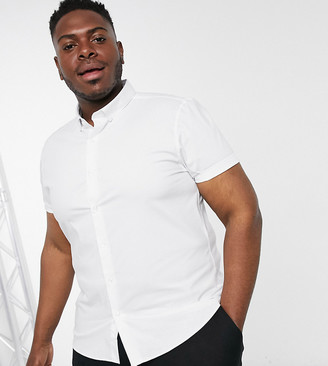Topman Big & Tall stretch slim short sleeve shirt in white