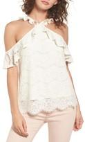 Love, Fire Women's Cross Neck Lace Cold Shoulder Top