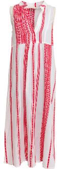 Nejma - Red/White Long Embroidered Dress Nejma - S/M