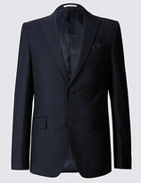Savile Row Inspired Big & Tall Navy Tailored Fit Wool Jacket