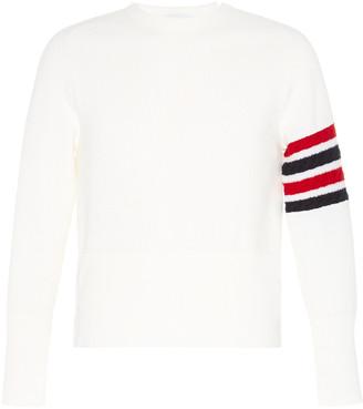 Thom Browne Striped Sleeve Crewneck Wool Sweater
