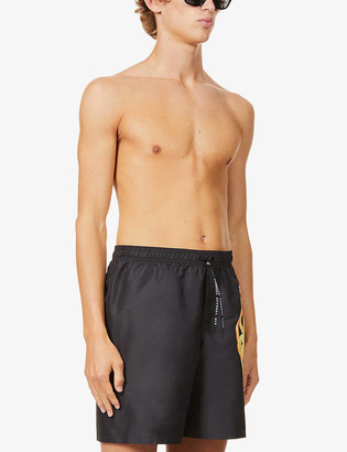 Versace Logo-print relaxed-fit swim shorts