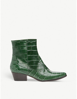 LK Bennett Choral croc-embossed leather heeled ankle boots