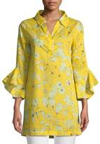Badgley Mischka Floral-Print Voile Bell-Sleeve Tunic