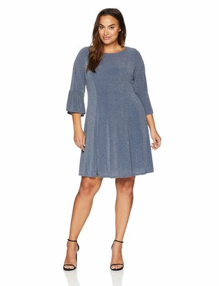 Jessica Howard JessicaHoward Plus Size Womens 3/4 Sleeve Fit and Flare Glitter Knit Dress