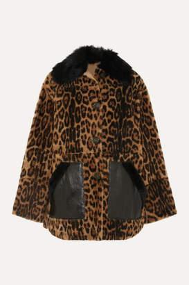 Yves Salomon Leather-trimmed Leopard-print Shearling Coat - Leopard print