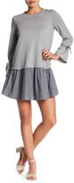 Bobeau Long Sleeve Knit Striped Poplin Blouse (Petite)