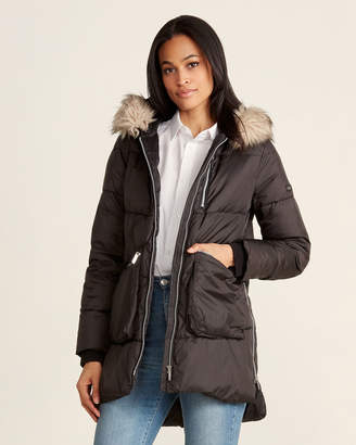DKNY Faux Fur-Trimmed Puffer Coat