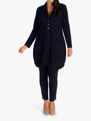 Chesca Cloque Textured Shawl Collar Coat, Navy