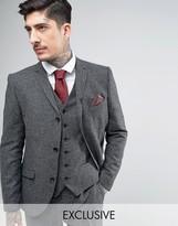 Heart & Dagger Skinny Suit Jacket In Herringbone Tweed