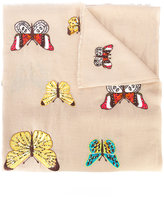Janavi beetle and butterfly embroidered scarf - women - Merino - One Size