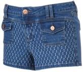 Rampage Juniors' Sophie Destructed Denim Shortie Shorts