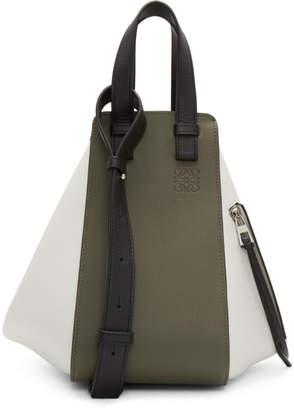 Loewe Green and White Small Hammock Bag