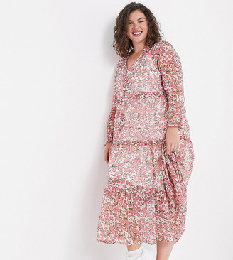 Neon Rose Plus oversized maxi smock dress with tiered skirt in ditsy floral