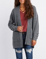 Charlotte Russe Shaker Stitch Lace-Up Detail Open-Front Cardigan