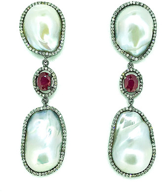 Arthur Marder Fine Jewelry Silver 4.35 Ct. Tw. Diamond, Ruby, & 18Mm Pearl Drop Earrings