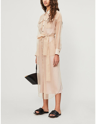 Brunello Cucinelli Sheer silk-crepe midi shirt dress