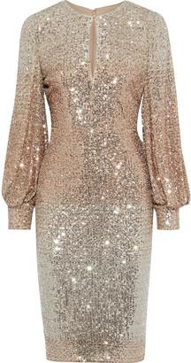 Badgley Mischka Cutout Degrade Sequined Mesh Dress