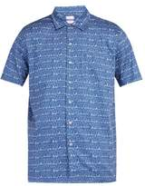 Le Sirenuse, Positano - Faces Print Cotton Shirt - Mens - Blue